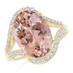 Oval Morganite Bypass Halo Ring with Diamond Accents