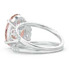 Toggle Solitaire Oval Morganite Split Shank Ring with Pave Diamonds
