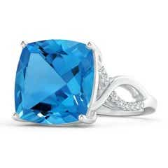 Prong-Set Cushion Swiss Blue Topaz Twisted Shank Ring