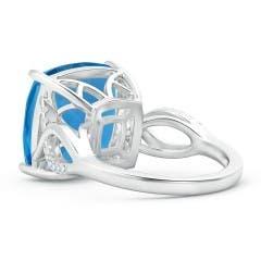 Toggle Prong-Set Cushion Swiss Blue Topaz Twisted Shank Ring