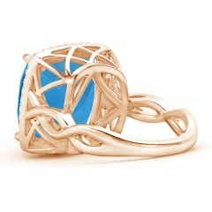 Toggle Cushion Swiss Blue Topaz Infinity Twist Halo Ring