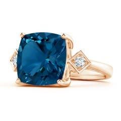 Cushion London Blue Topaz Ring with Diamonds