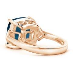 Toggle Cushion London Blue Topaz Ring with Diamonds