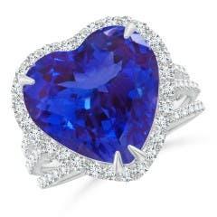 Heart-Shaped Tanzanite Triple Shank Ring