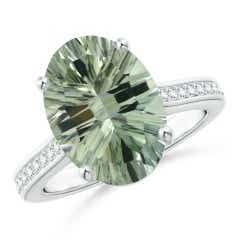Classic GIA Certified Oval Green Amethyst Solitaire Ring