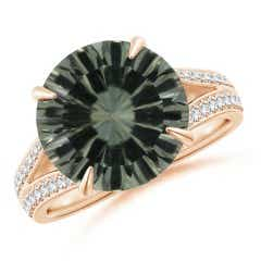 GIA Certified Green Amethyst Split Shank Ring with Diamonds