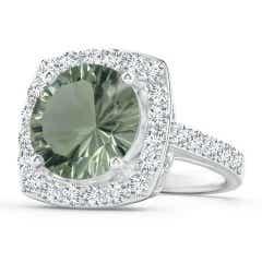 GIA Certified Green Amethyst Cushion Halo Ring with Diamonds
