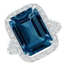 Emerald-Cut London Blue Topaz Halo Ring with Pave Diamonds