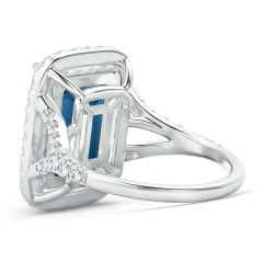 Toggle Emerald-Cut London Blue Topaz Halo Ring with Pave Diamonds