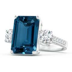 Emerald-Cut London Blue Topaz and Diamond Three Stone Ring