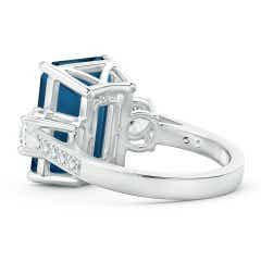 Toggle Emerald-Cut London Blue Topaz and Diamond Three Stone Ring
