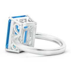 Toggle Classic Emerald-Cut Swiss Blue Topaz Solitaire Ring