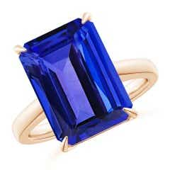 Classic Octagonal GIA Certified Tanzanite Solitaire Ring