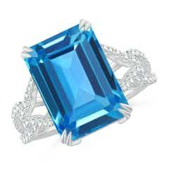 Octagonal Swiss Blue Topaz Twisted Split Shank Ring