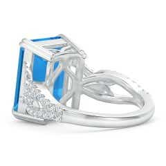 Toggle Octagonal Swiss Blue Topaz Twisted Split Shank Ring