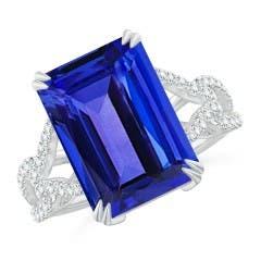 Emerald-Cut Tanzanite Twisted Split Shank Ring