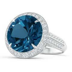 Classic London Blue Topaz Halo Ring with Pave Diamonds