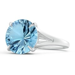 Solitaire GIA Certified Sky Blue Topaz Split Shank Ring