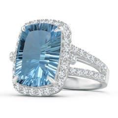 GIA Certified Rectangular Cushion Sky Blue Topaz Halo Ring