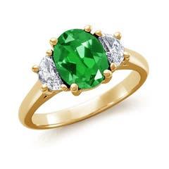 Lab Created Oval Emerald and Diamond Three Stone Ring