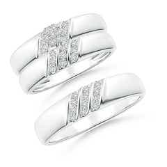 Channel-Set Diagonal Diamond Cluster Trio Wedding Ring Set