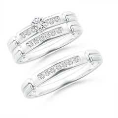 Incised Channel-Set Diamond Solitaire Trio Wedding Ensemble