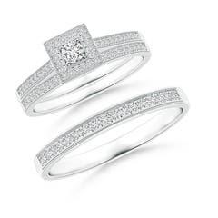 Milgrain Outlined Diamond Square Halo Trio Wedding Ring Set
