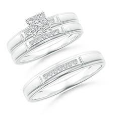 step edged channel set diamond square cluster trio wedding ring set - Wedding Anniversary Rings