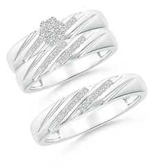 Slanted Channel-Set Diamond Cluster Trio Matching Wedding Ring Set