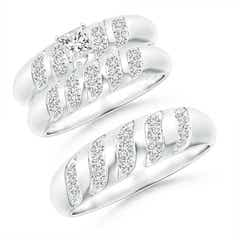 Wavy Grooved Princess-Cut Diamond Solitaire Trio Wedding Ensemble