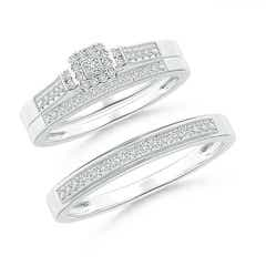 Milgrain-Edged Pave Set Diamond Square Halo Trio Wedding Ring Set