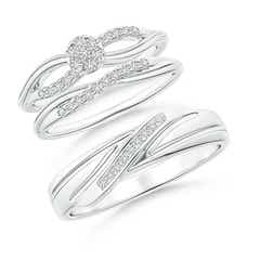 Criss-Cross Diamond Floral Cluster Trio Matching Wedding Ring Set