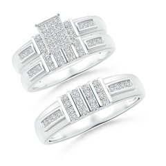Channel-Set Bar Diamond Rectangle Cluster Trio Wedding Ring Set