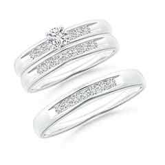 Channel Grooved Classic Diamond Solitaire Trio Wedding Ensemble