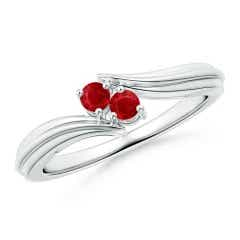 Round Two Stone Ruby Bypass Ring