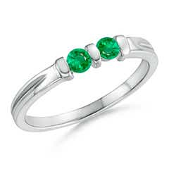 Round Two Stone Emerald Ring with Bar Setting