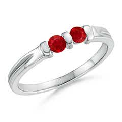 Round Two Stone Ruby Ring with Bar Setting