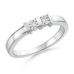 Round 2 Stone Diamond Ring with Bar Setting