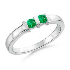 Round 2 Stone Emerald Ring with Bar Setting