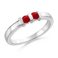 Round 2 Stone Ruby Ring with Bar Setting