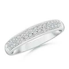 Half Eternity Pave Set Two Row Diamond Wedding Band