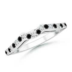 Prong Set Round Enhanced Black & and White Diamond Curved Wedding Band