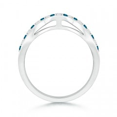 Round Enhanced Blue and White Diamond Curved Wedding Band