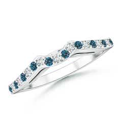 Round Enhanced Blue and White Diamond Curved Wedding Band