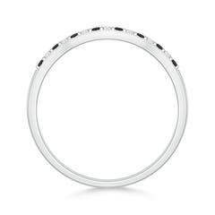 Toggle Round Enhanced Black and White Diamond Contour Wedding Band