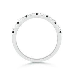 Toggle U Prong Enhanced Black & White Diamond Half Eternity Wedding Band