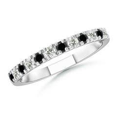 U Prong Enhanced Black & White Diamond Half Eternity Wedding Band