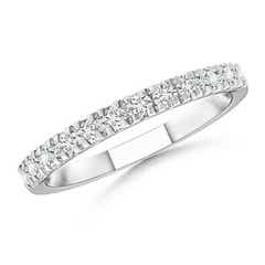 U Prong Diamond Half Eternity Wedding Band