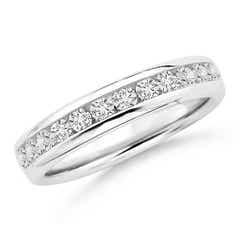 Channel Set Round Diamond Half Eternity Wedding Band