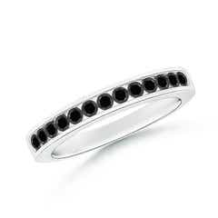 Channel Set Round Enhanced Black Diamond Half Eternity Band